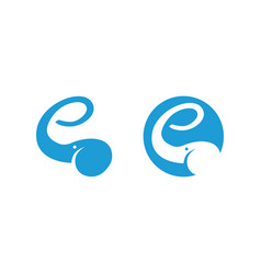 elephant logo showing letter e with the trunk vector image