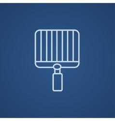 Empty barbecue grill grate line icon vector