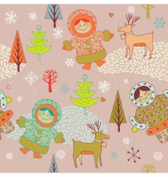 Eskimo girls seamless pattern vector