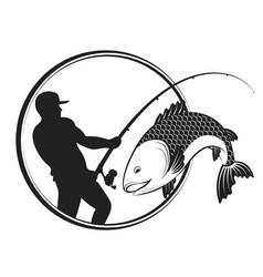 fish and fisherman with a fishing rod vector image