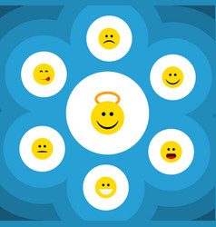 flat icon expression set of joy angel sad and vector image