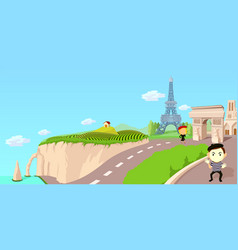 France travel horizontal banner cartoon style vector