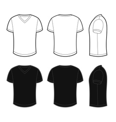 Front back and side views of blank t-shirt vector