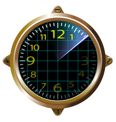 Futuristic clock yellow apparatus radar gauge vector