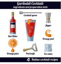garibaldi cocktail infographic set of isolated vector image