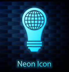 Glowing neon light bulb with inside world globe vector