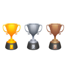 gold silver bronze cups trophy awards vector image