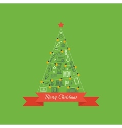 Green stylized Christmas tree Christmas greeting vector image