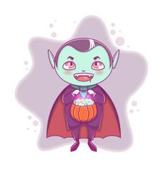 halloween little vampire dracula boy kid vector image