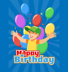 happy kid celebrating birthday cartoon vector image