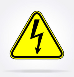 High voltage lightning arrow triangle sign vector