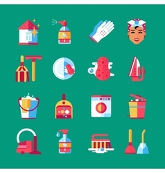 Housekeeping Cleaning Flat Icons Set vector image