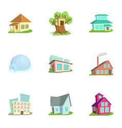 Housing icons set cartoon style vector