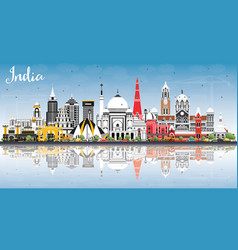 India city skyline with color buildings blue sky vector