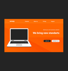 landing page laptop website web design vector image