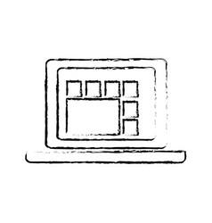 laptop computer graph work technology vector image