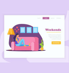 lazy weekends people flat banner vector image