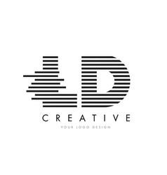 ld l d zebra letter logo design with black and vector image