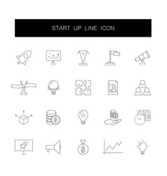 line icons set start up pack vector image
