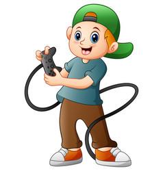 little boy holding joystick game vector image