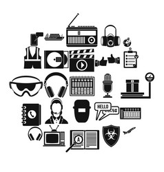 loud music icons set simple style vector image
