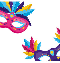 masks with feather carnival vector image