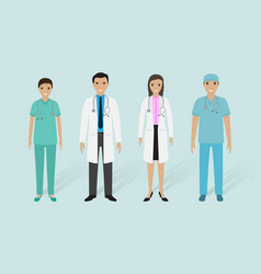 Medical staff group male and female doctors vector
