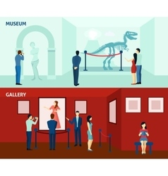 Museum visitors 2 flat banners poster vector