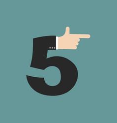 number 5 letter businessman hand font it shows vector image