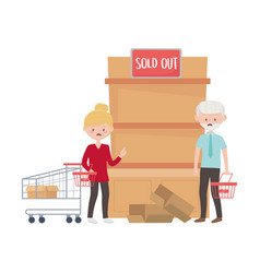 Old man and woman shopping with cart and basket vector