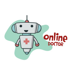 Online doctor bot icon vector