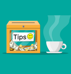 Orange tip box full cash and cup coffee vector