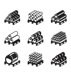 Pallets with metal plastic and rubber pipes vector