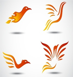 Phoenix bird icon collection set vector image