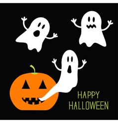 Pumpkin Candles Flying Ghost set Halloween card vector