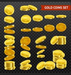 realistic gold coins darktransparent set vector image