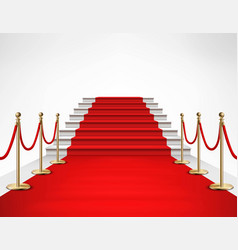 Red carpet white stairs realistic vector