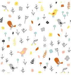 seamless childish pattern with tiny birds and vector image