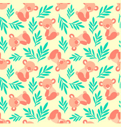 seamless pattern with cute koala bears and leaves vector image