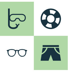 Season icons set collection of spectacles tube vector