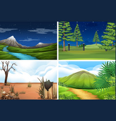 set nature scene vector image