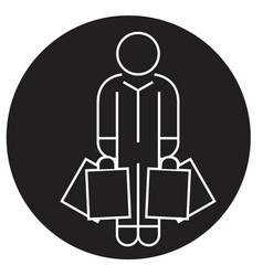 shopper man with bags black concept icon vector image