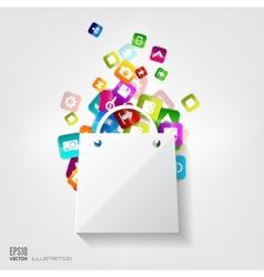 Shopping bag icon Application buttonSocial media vector image