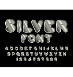 Silver font abc of argentum precious metal vector