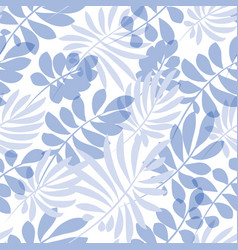Tender pale blue and green tropical leaves vector