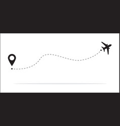 the concept airplane travel with a map pins vector image