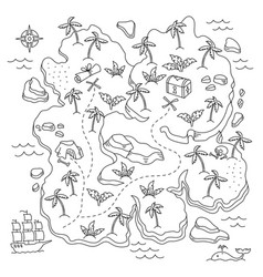 Treasure island pirates isle adventure sea ship vector