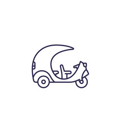 Tuk taxi line icon side view vector