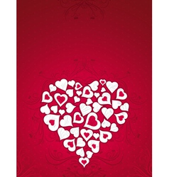 valentine card with big heart over red background vector image