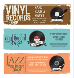 vinyl record shop retro grunge banner 2 vector image